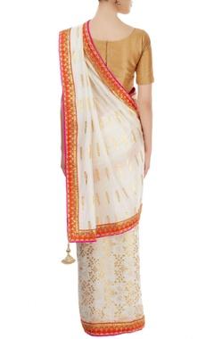 White foil printed sari