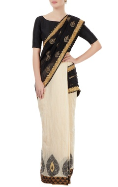 Black & off white embellished sari