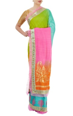 multi colored sari with border detailing