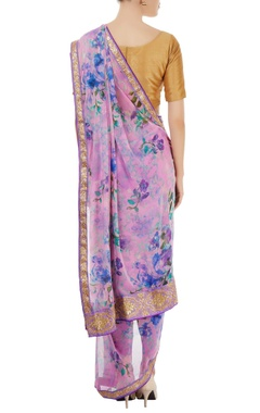 Mauve floral printed dhoti sari