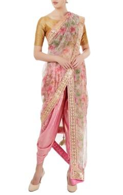 pink shimmer floral printed dhoti sari
