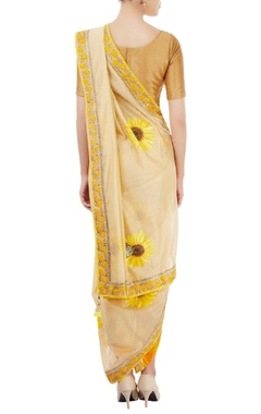 beige dhoti sari with sunflower motif