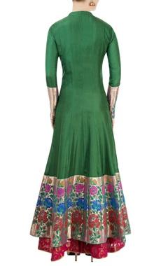 green & pink kurta lehenga with floral motif