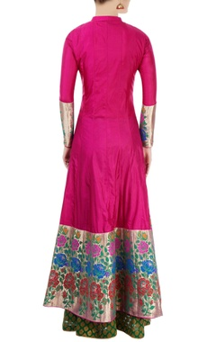 pink & green embroidered kurta lehenga