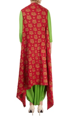 Green kurta set with red embroidered jacket