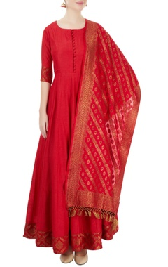 red embroidered anarkali set with an embroidered hem