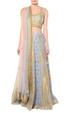 Blue lehenga set with zardozi