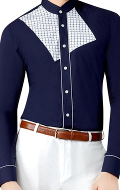 navy blue printed shirt