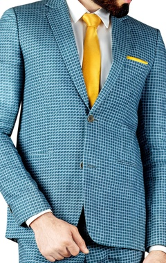 Grey & blue block printed suit