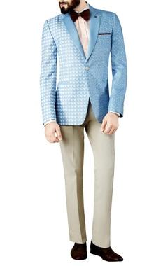 Sky blue printed blazer