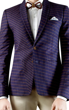 Navy blue distorted checkered print blazer