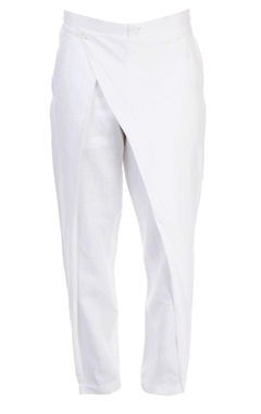 White trouser with overlap detail