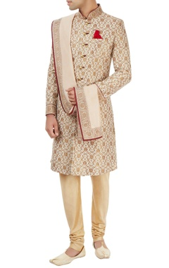 Off-white & beige sherwani set with floral pattern