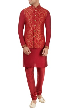 red embroidered kurta set with nehru jacket