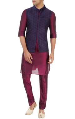 purple kurta set with embroidered nehru jacket