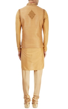 beige kurta set with nehru jacket