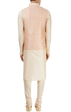 off-white & dusky pink embroidered kurta set
