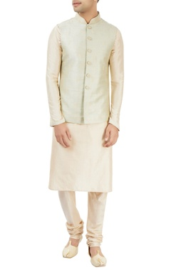 off-white & pastel green embroidered kurta set