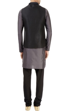 black & grey kurta set with embroidered nehru jacket