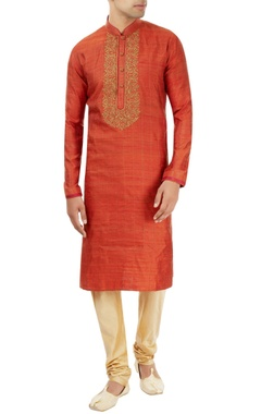 rust orange kurta with embroidery