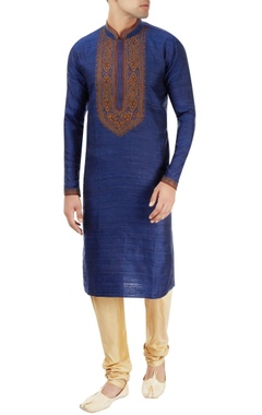 blue kurta with embroidery