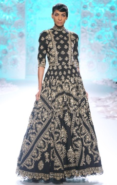 Black gown with gold embroidery