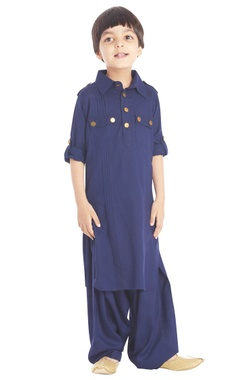 Blue collared kurta set