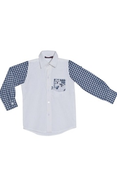 White shirt with checkered sleeves