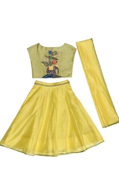 yellow & green embroidered lehenga set