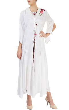 White embroidered long jacket