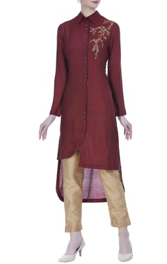 Joy Mitra Asymmetric hemline tunic with motif embroidery