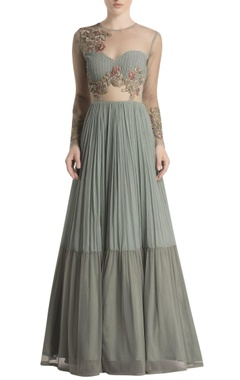 grey anarkali with floral embroidery