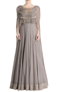 Grey anarkali cape with tassels