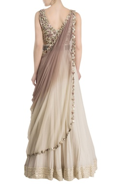 Cream anarkali with attached ombre dupatta