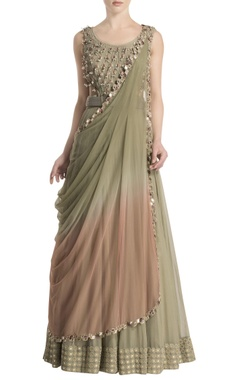 Green anarkali with attached ombre dupatta