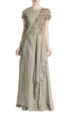Ridhima Bhasin Grey draped & embroidered jumpsuit