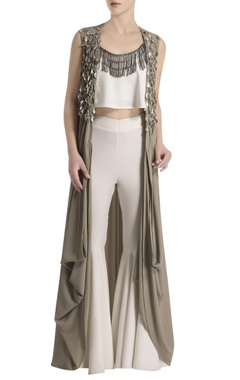 White pant set with embellished grey cape