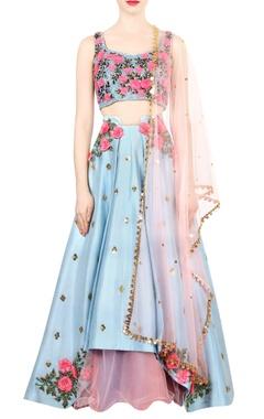 vista blue embroidered bridal lehenga set