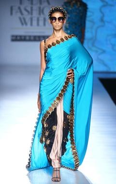 blue, black & white skein work sari