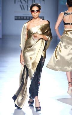 black & gold acrot print sari