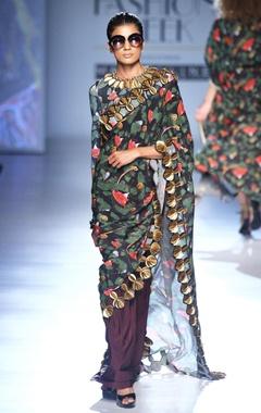 Black acrot print skien work sari