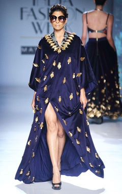 dark blue skein work kaftan gown