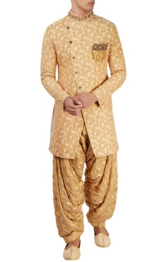 beige embellished sherwani