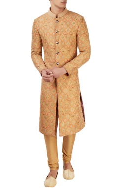 Orange embroidered sherwani