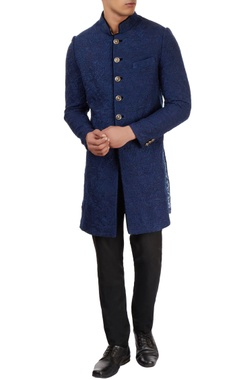 Sarab Khanijou blue sherwani with floral pattern