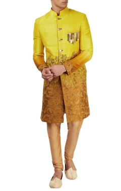 Yellow & orange embellished sherwani