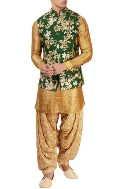 Sarab Khanijou Emerald green & antique gold kurta with jacket