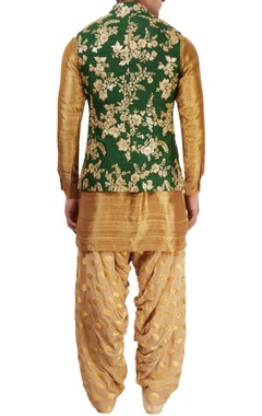 Emerald green & antique gold kurta with jacket