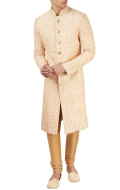 Sarab Khanijou beige sherwani with peach threadwork