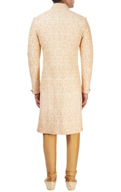 beige sherwani with peach threadwork